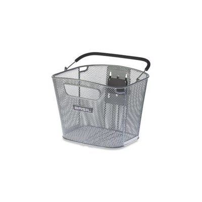 Basil Bold Front Removable - fahrradkorb - 16L - vorderradgepäckträger - silber