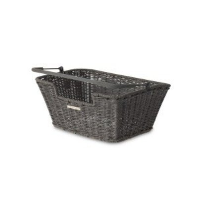 Basil Capri Rattan Look - fahrradkorb - grau