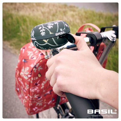 Basil Wanderlust Big Bell - bicycle bell - 80MM - black with bird print