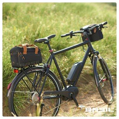 Basil Miles Trunkbag - bagagedragertas - schoudertas - 7L - zwart/grijs