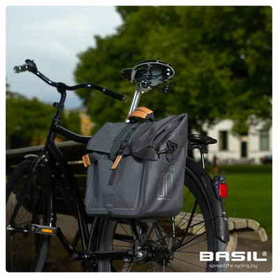 Basil Urban Dry - business fietstas - 20 liter - donkergrijs