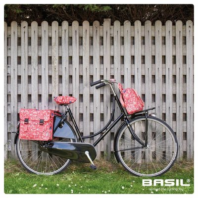 Basil Wanderlust Saddle Cover - red with bird print