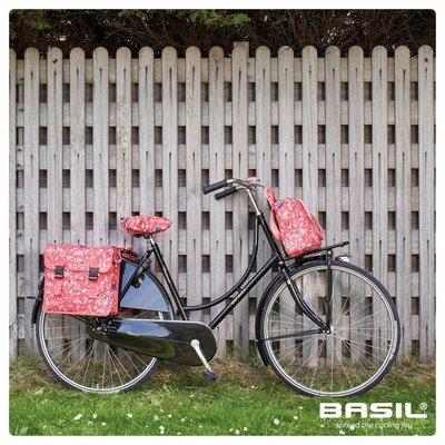 Basil Wanderlust Saddle Cover - sattelbezug - rot mit vogelmuster