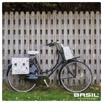 Basil Wanderlust Saddle Cover - sattelbezug - Weiss mit vogelmuster