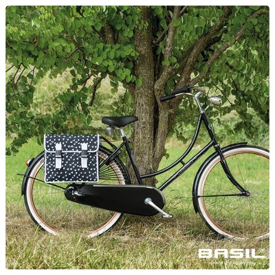 Basil Mara XL - double bicycle bag - 35 liter - heart dots