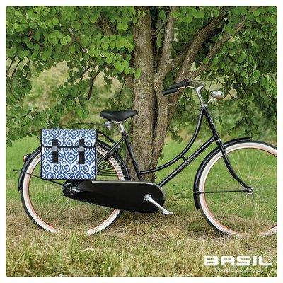 Basil Mara XL - dubbele fietstas - 35 liter - indigo ikat