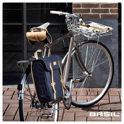 Basil Portland Slimfit Double Bag - double bike bag - bicycle bag - 29L - blue
