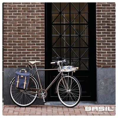 Basil Portland Slimfit Double Bag - dubbele fietstas - enkele fietstas 29L - donkerblauw