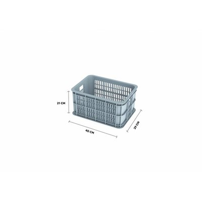 Basil Crate S - bicycle crate -  25L - silver cloud