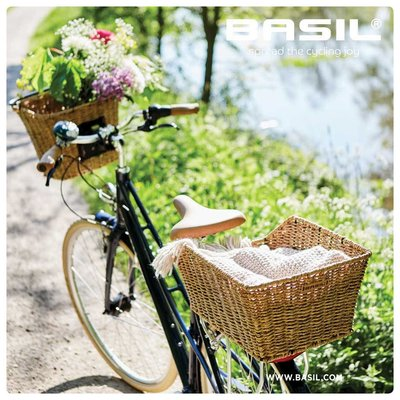 Basil Cento Rattan Look - fietsmand - achterop - bruin