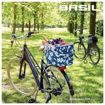 Basil Magnolia Carry All - bicycle basket - rear - blue
