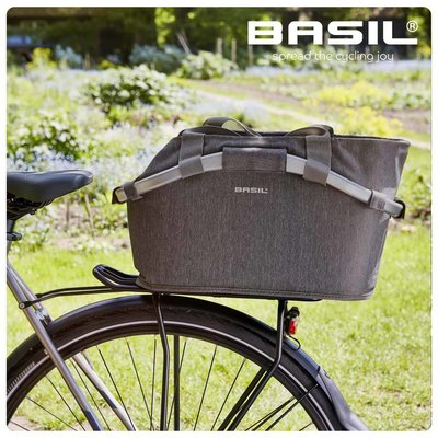 Basil 2Day Carry All - bicycle basket - rear- grey melee