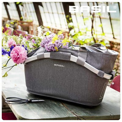 Basil 2Day Carry All - bicycle basket - rear- grey