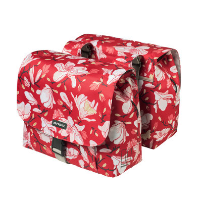 Basil Magnolia S - double bicycle bag - small - 25 liter - poppy red