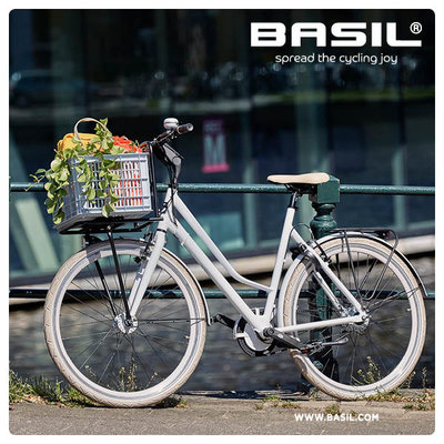 Basil Crate S - fietskrat -  25 liter - saddle brown