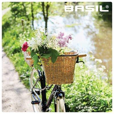 Basil Bremen Rattan Look FM – Fahrradkorb – vorne - braun