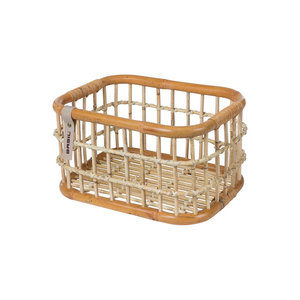 Basil Green Life - rattan bicycle basket - medium - front - natural brown