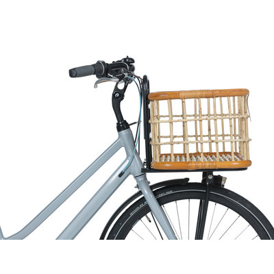 Basil Green Life -  Rotan bicycle basket - large - front - natural brown