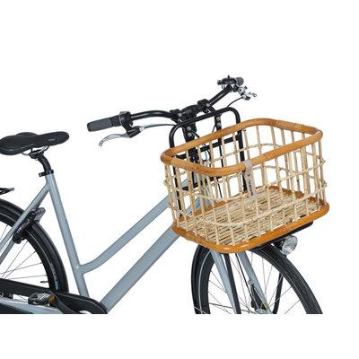 Basil Green Life - rotan fietsmand - large - voorop- natural bruin