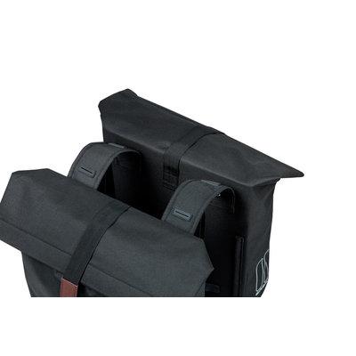 Basil City - dubbele fietstas - 28-32 liter - zwart