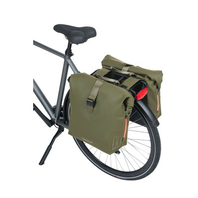 Basil SoHo - bicycle double bag Nordlicht - 41 liter - moss green
