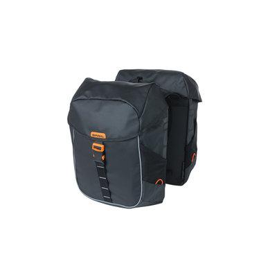 Basil Miles Tarpaulin - double bicycle bag - 34 liter - black/orange