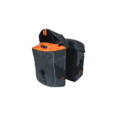 Basil Miles Tarpaulin - dubbele fietstas - 34 liter - zwart/oranje