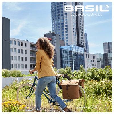 Basil City - dubbele fietstas - 28-32 liter - camel bruin