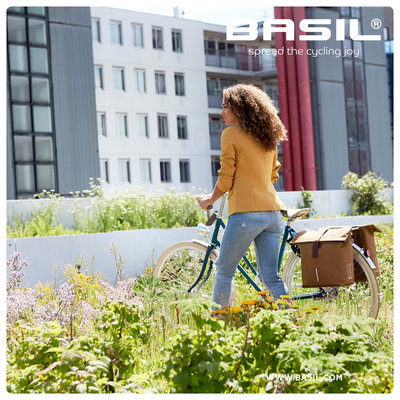 Basil City - Fahrrad Doppeltasche - 28-32 Liter - grau meli