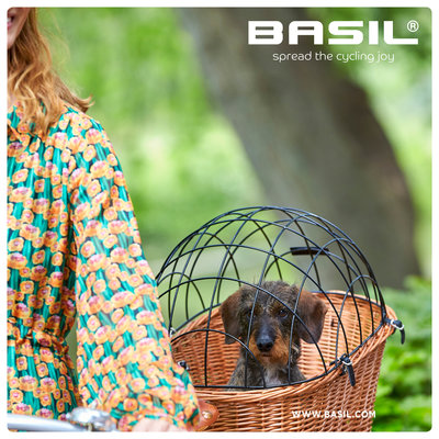 Basil Pasja - hondenfietsmand MIK - medium - achtermand - natural