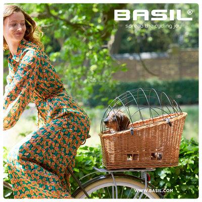 Basil Pasja - hondenfietsmand MIK - medium - 45 cm - achtermand - natural