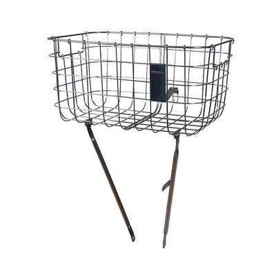 Basil Robin - bicycle basket - front - silver