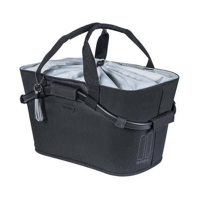 Basil Noir Carry All - bicycle basket - rear -black
