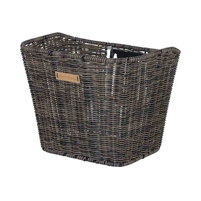 Basil Bremen Rattan Look FM – bicycle basket – front - dark brown