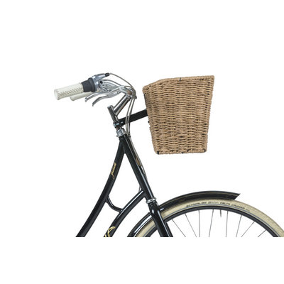 Basil Bremen Rattan Look FM – bicycle basket – front - brown