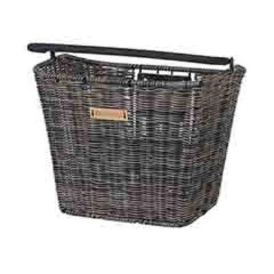 Basil Bremen Rattan Look KF - bicycle basket - front - dark brown