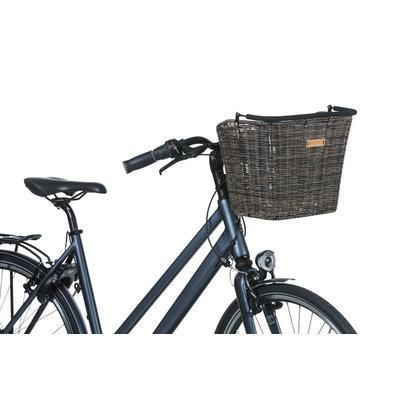Basil Bremen Rattan Look KF - fietsmand - voorop - donkerbruin