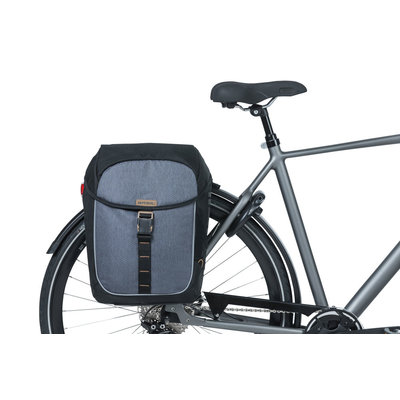 Basil Miles - dubbele fietstas - 34 liter - zwart/grijs