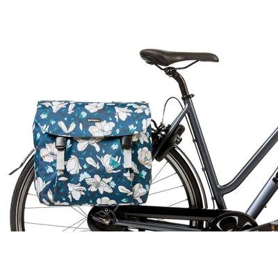 Basil Magnolia - doppelte Fahrradtasche - teal blue