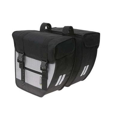 Basil Tour – doppelte Fahrradtasche – schwarz / silber