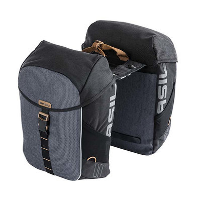 Basil Miles - double bicycle bag MIK - 34 liter - grey/black
