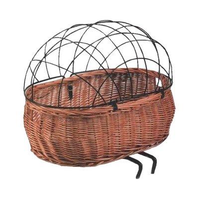 Basil Pluto - dog bicycle basket - front - brown