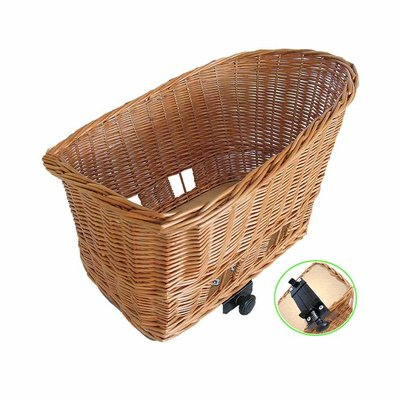 Basil Pasja - dog bicycle basket -  large - 50 cm - rear -natural
