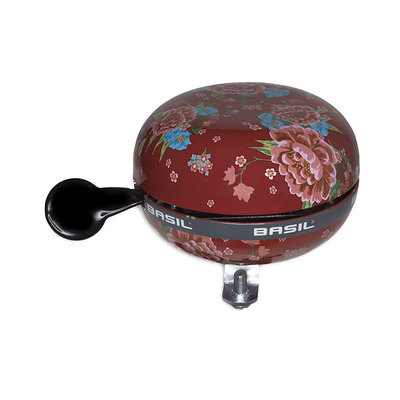 Basil Bloom - bicycle bell - 80 mm - red with flowers