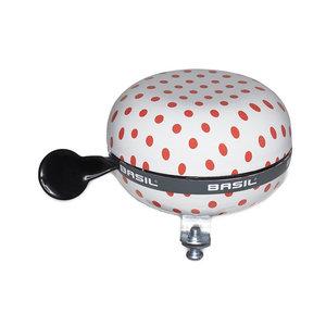 Polkadot - fietsbel - wit / rood