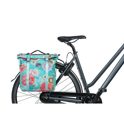 Basil Bloom Field - dubbele fietstas MIK - 28-35 liter - blauw
