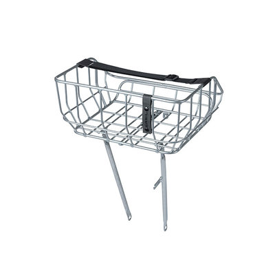 Basil Portland - bicycle basket - front - chrome
