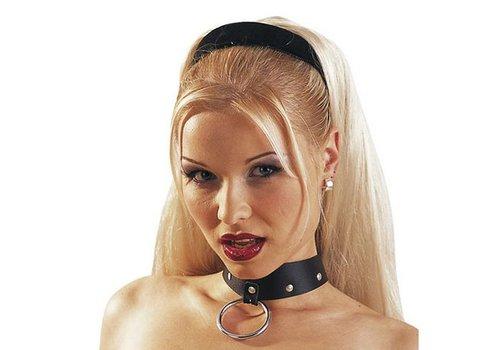 Leren halsband met ring