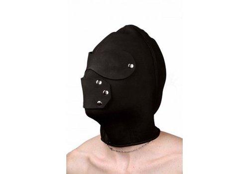 Zwarte hoofdkap voor sm met oog- en mondgaten