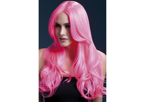 Lange Gekrulde Pruik - Roze